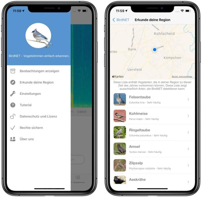 Menübereich in der BirdNET-App
