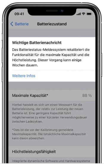 Hinweis zur Rekalibrierung des Akkus am iPhone 11