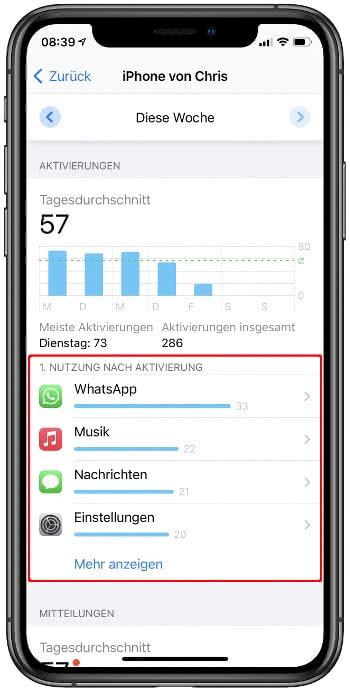 App Nutzung nach iPhone Aktivierung