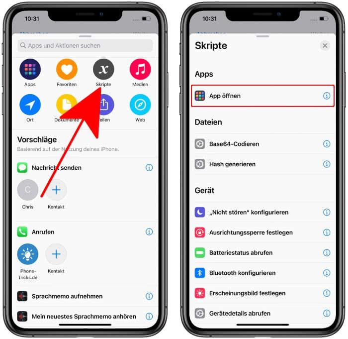 """Neuen Kurzbefehl erstellen und """"App öffnen"""" wählen"""