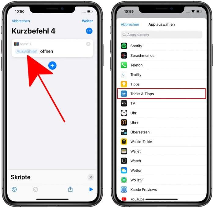Neuen Kurzbefehl erstellen und App auswählen