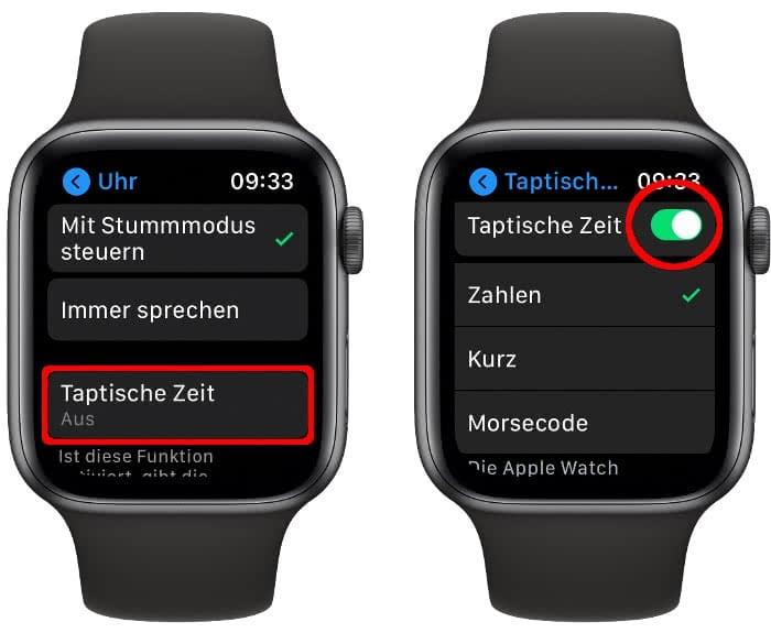 Taptische Zeit aktivieren auf der Apple Watch