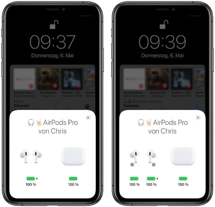 AirPods Akkustand anzeigen am iPhone mit Ladecase