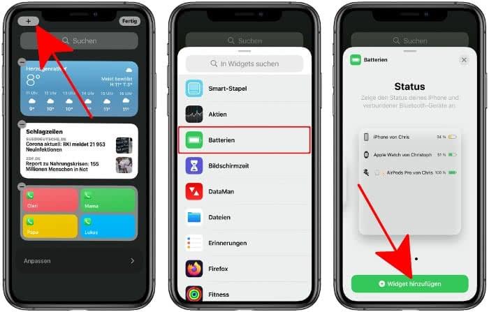 AirPods Akkustand anzeigen mit Batterien-Widget