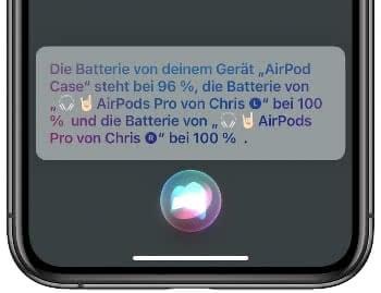Siri nach dem AirPods Akkustand fragen