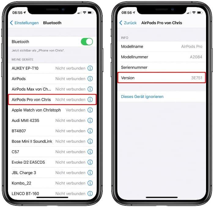 AirPods Firmware Version anzeigen in den Bluetooth-Einstellungen