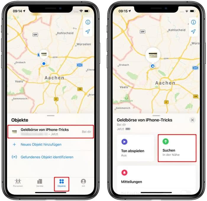 Genaue Suche starten in der Wo ist?-App