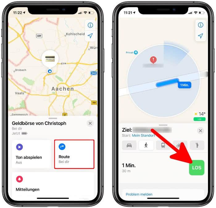 Routenführung in der Karten-App starten