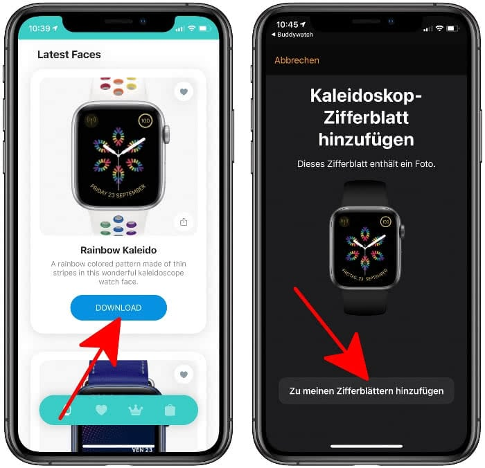 Zifferblatt herunterladen in der Buddywatch-App