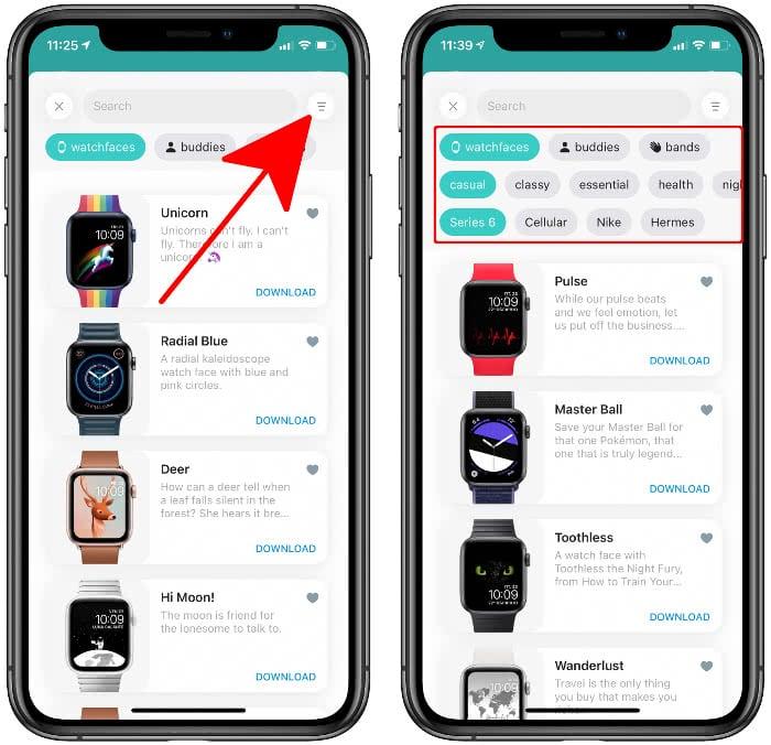 Zifferblätter filtern nach Thema und Apple Watch in der Buddywatch-App