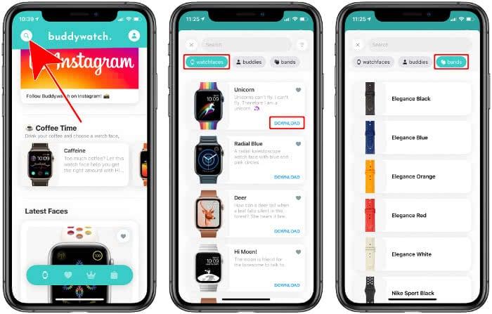 Zifferblätter suchen und filtern in der Buddywatch-App