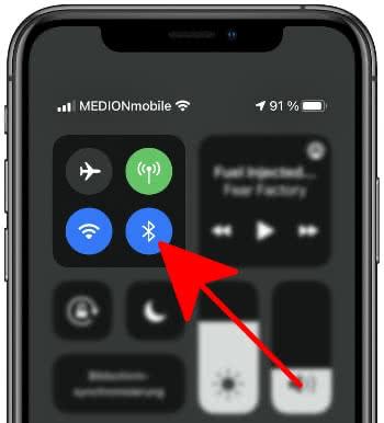 Bluetooth aktivieren im Kontrollzentrum