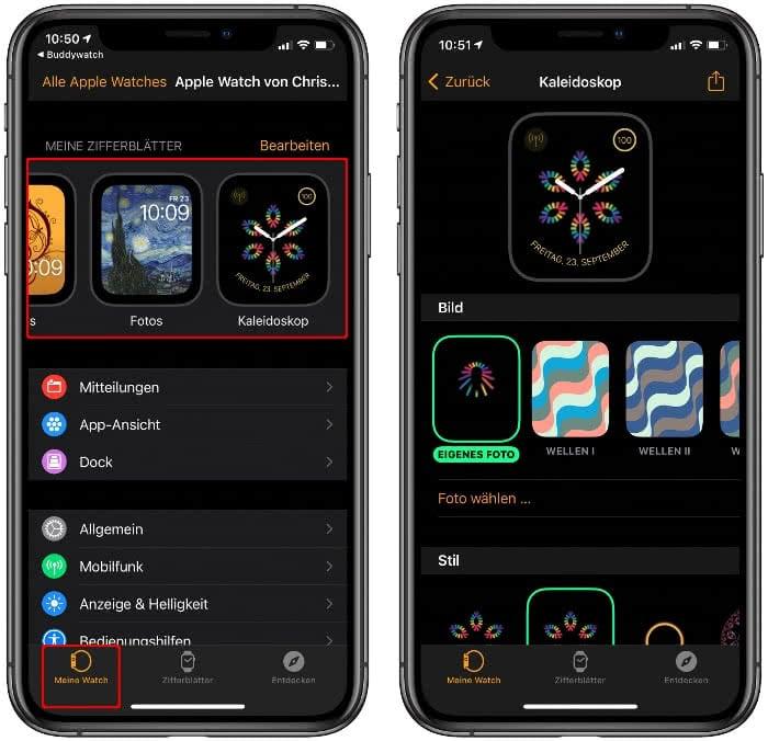 Buddywatch-Zifferblatt in der Watch-App am iPhone