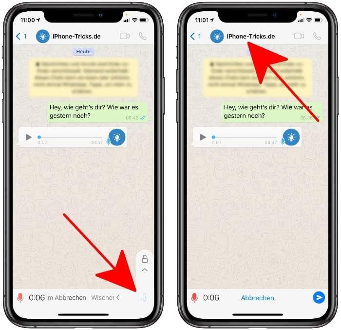 Sprachnachricht Aufnahme sperren in WhatsApp