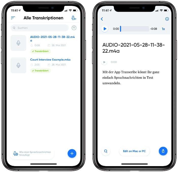 In Text umgewandelte Sprachnachricht in der Transcribe-App