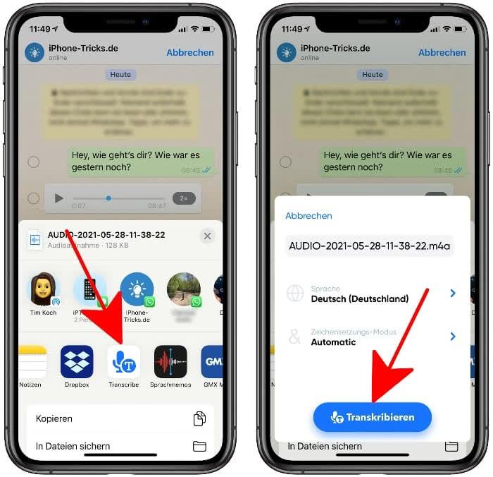 WhatsApp Sprachnachricht in Text umwandeln mit Transcribe