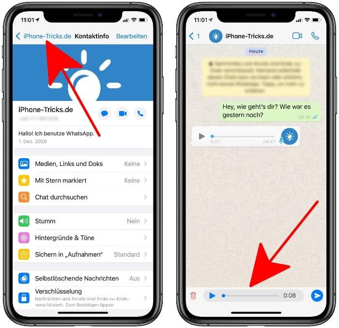 WhatsApp Sprachnachricht vor dem Versand anhören