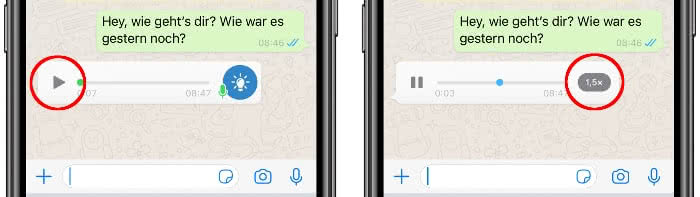 WhatsApp Sprachnachrichten schneller abspielen