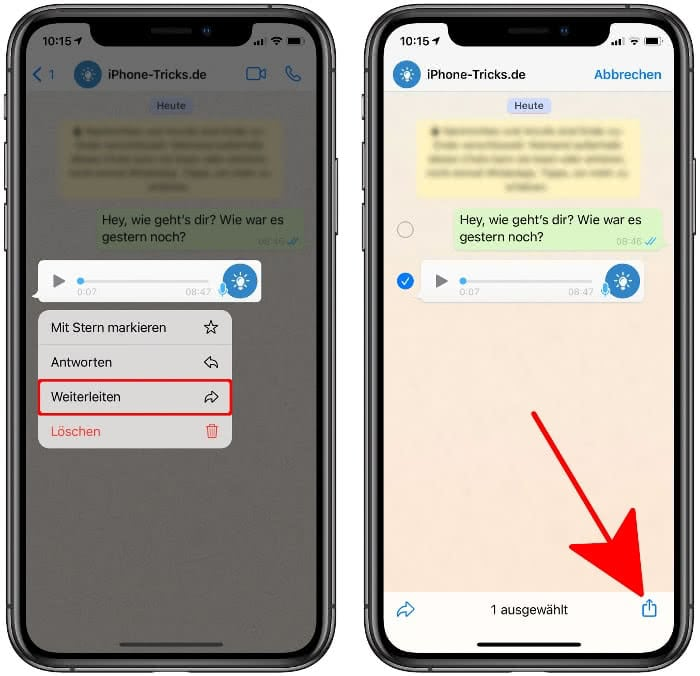Teilen-Menü öffnen in WhatsApp