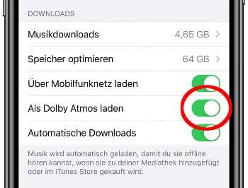 Dolby Atmos für Downloads in Apple Music einstellen