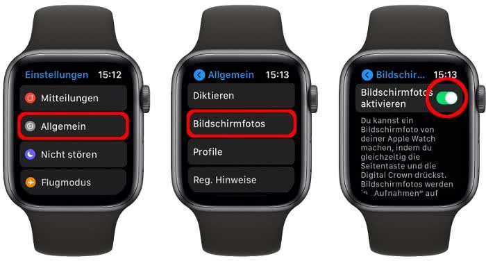 Bildschirmfotos aktivieren auf der Apple Watch