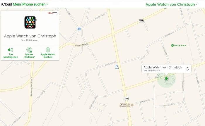 Apple Watch suchen auf iCloud.com am Computer