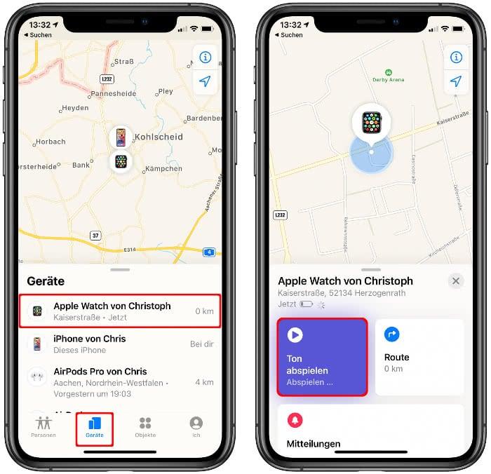 Apple Watch suchen in der Wo ist?-App