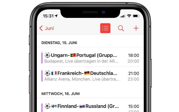 EM 2020 Spielplan-Kalender Beispiel