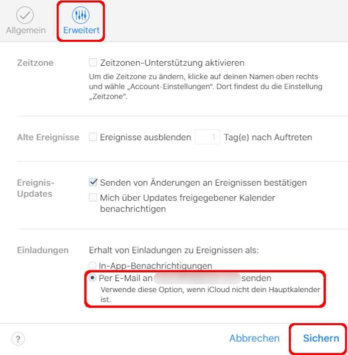 iCloud-Kalender erweiterte Einstellungen