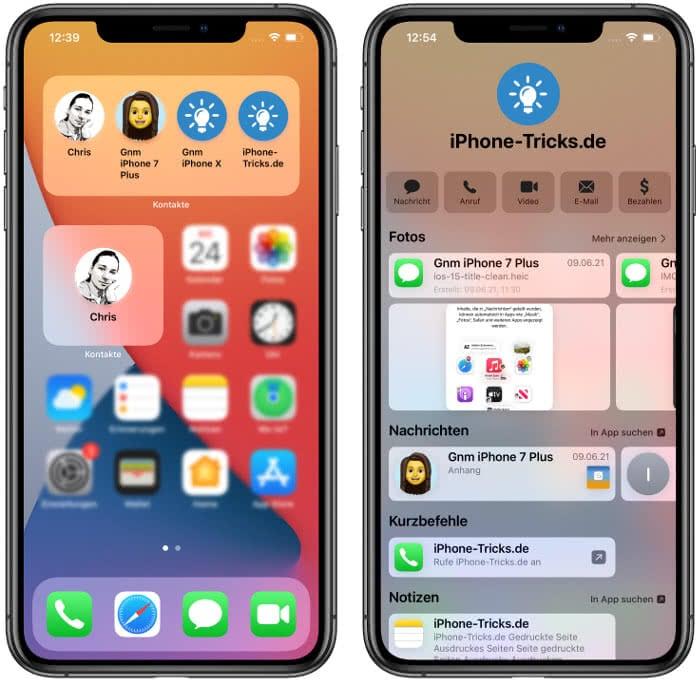 iOS 15 Kontakte-Widget
