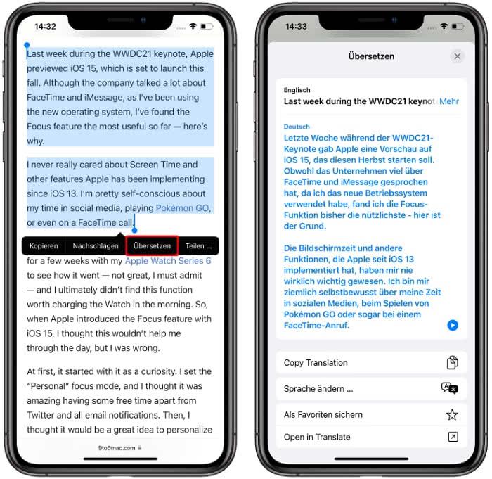 Texte übersetzen mit Livetext