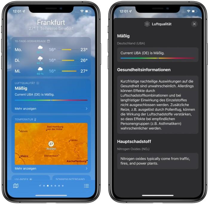 Luftqualität-Anzeige in der Wetter-App