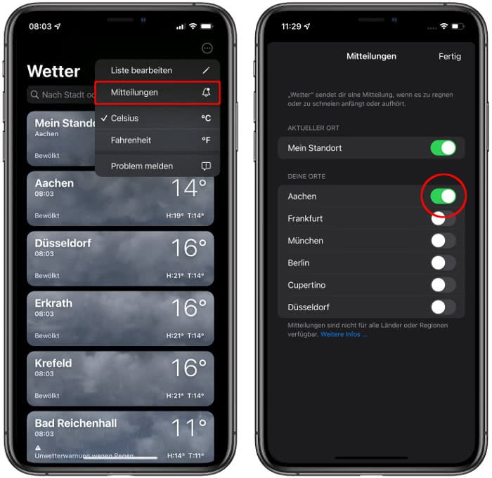 Wetter-App Mitteilungen
