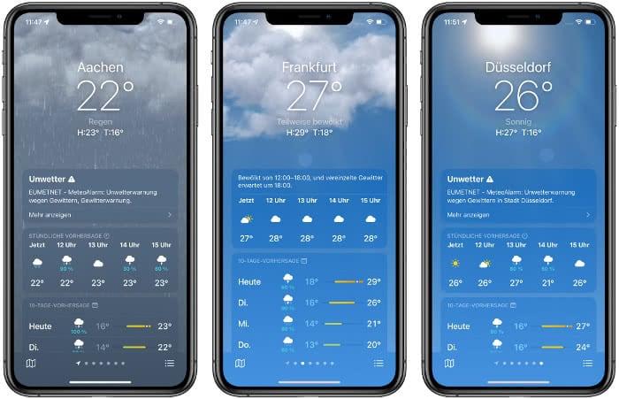 Wetteranimationen in der Wetter-App