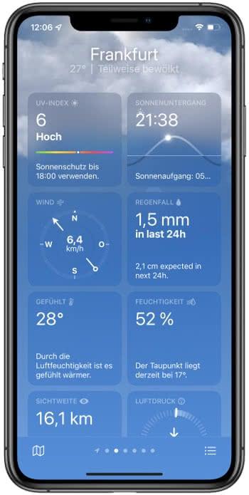 Wetterdaten in der Wetter-App