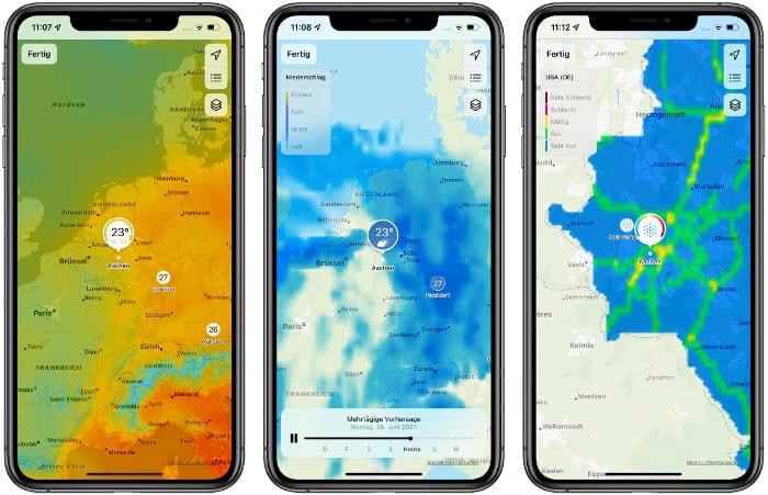 Wetterkarten in der Wetter-App
