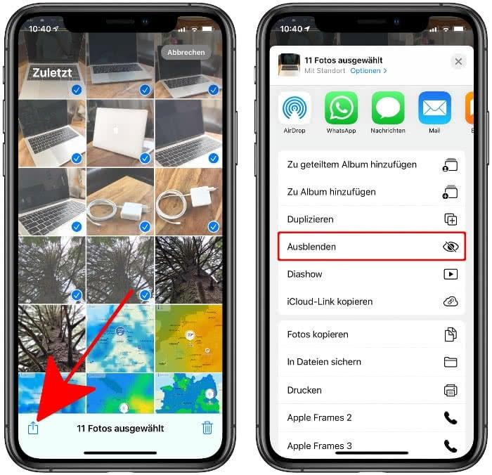 iPhone Fotos ausblenden
