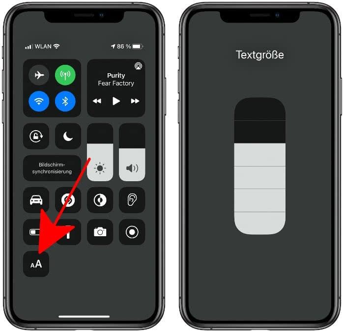Textgröße im Kontrollzentrum ändern
