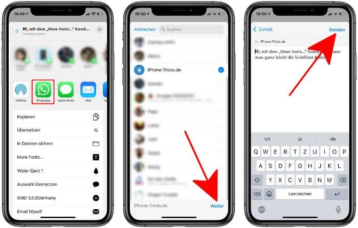 Andere Schriftart senden in WhatsApp