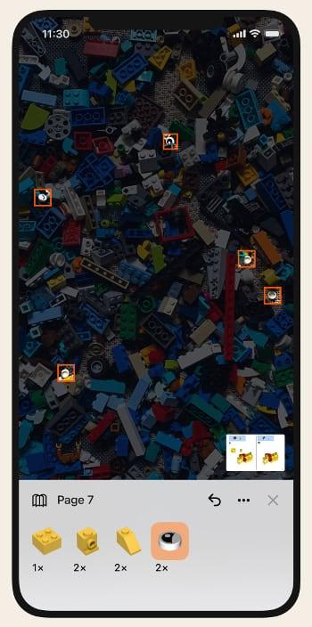 Hervorgehobene Bauteile in der Brickit-App