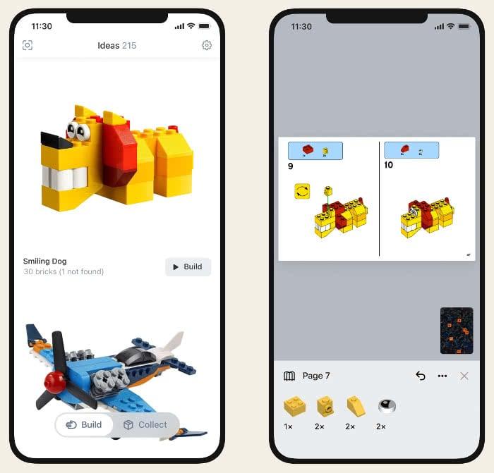 Ideen und Anleitungen in der Brickit-App