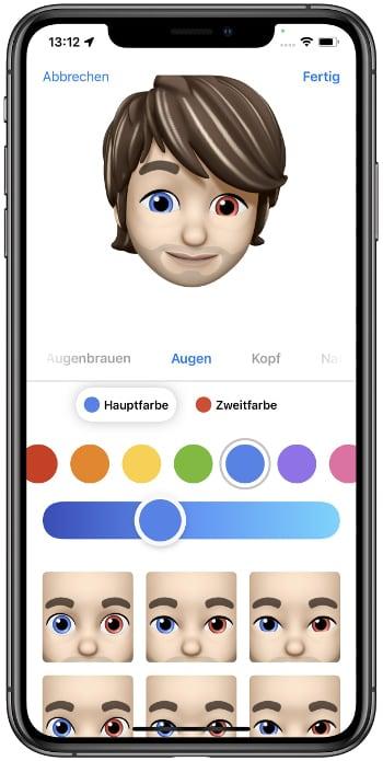 Unterschiedliche Memoji-Augenfarben in iOS 15