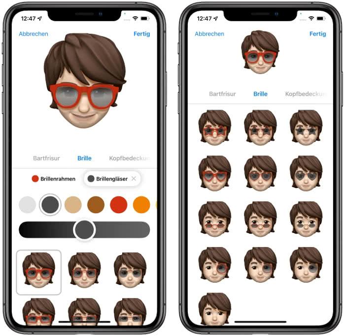 Brillen-Optionen in iOS 15
