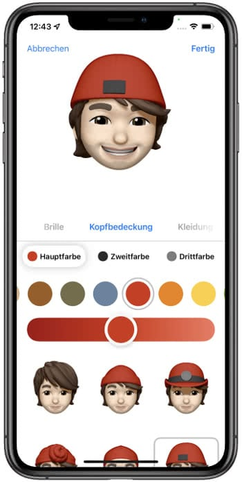 Farboptionen für Memoji-Kopfbedeckung in iOS 15