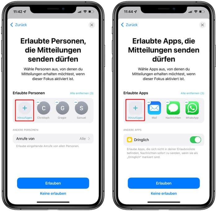 Personen und Apps festlegen, die Mitteilungen senden dürfen
