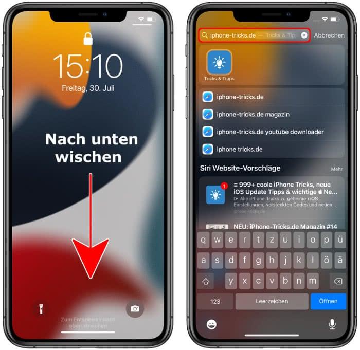 iPhone-Suchfunktion im Sperrbildschirm aufrufen