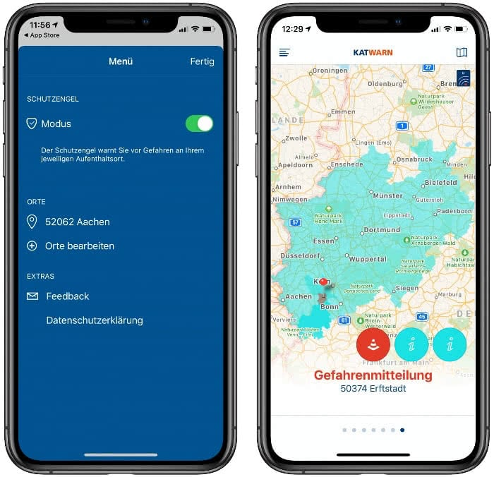 Menü und Kartenansicht in der KATWARN-App