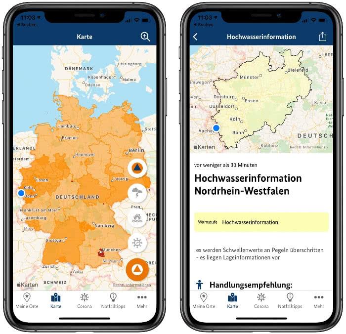 Kartenansicht in der NINA-App