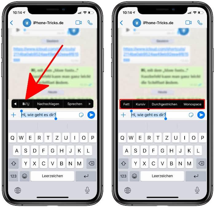 WhatsApp Schrift formatieren
