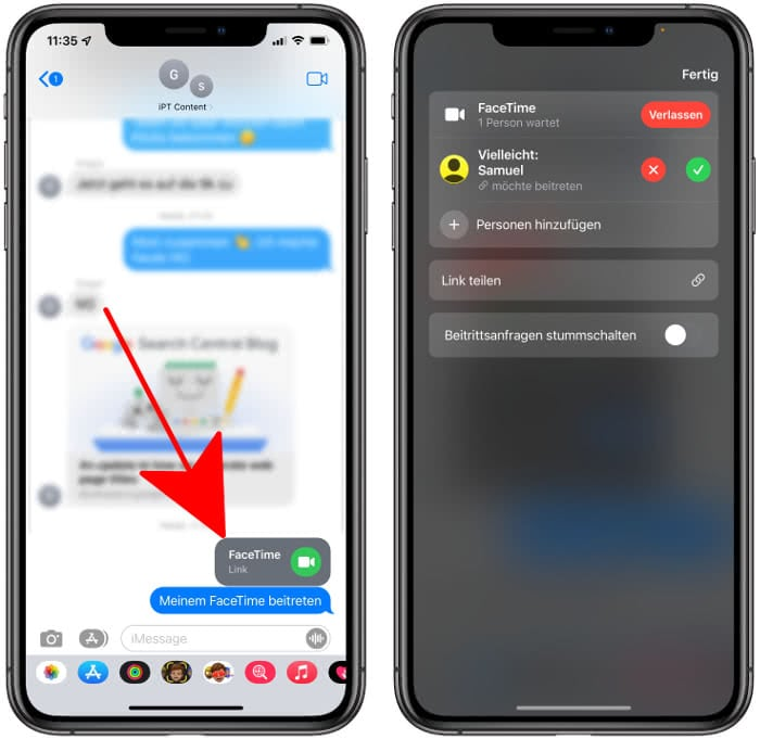 FaceTime Link in iMessage